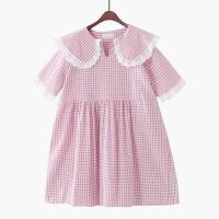 2018夏季新款韩版宽松格子娃娃裙衫甜美高腰大码连衣裙短袖衬衫夏