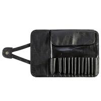 PU皮便携化妆刷收纳包刷子收纳袋空套化妆工具扫包刷桶 12位折叠刷包款(黑色) 空包 其它材质