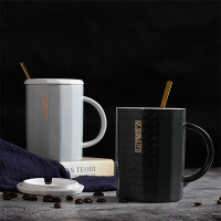 生日礼物情侣杯子一对创意早餐杯子陶瓷带盖勺办公室家用男女咖啡杯马克杯送女友送男友送朋友送女友