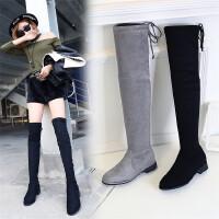 2017欧美秋冬新款靴子女平底绒面过膝长靴长筒瘦腿靴加绒弹力靴子