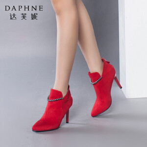 Daphne/达芙妮短靴 秋冬时尚尖头细跟高跟女及踝靴女鞋婚鞋