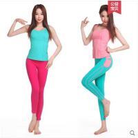 撞色拼接背心时尚显瘦瑜伽服速干套装健身服现代舞蹈服装性感含胸垫