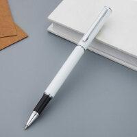 得力中性笔金属笔杆办公签字笔可刻字印商务白色黑色碳素笔logo