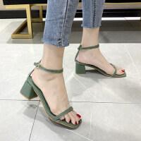 潮款抹茶绿方头一字外穿仙女风透明时装鞋高跟粗跟凉鞋女