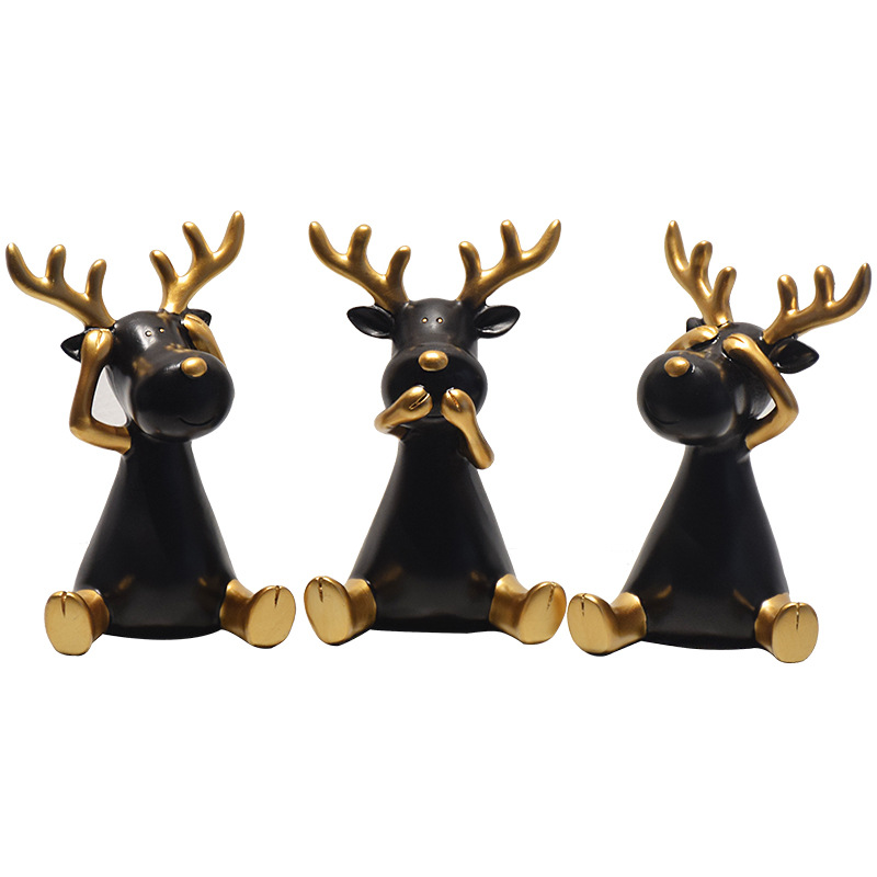 装饰摆件工艺品小件创意可爱鹿北欧家居房间的小饰品客厅摆设品个性现代简约