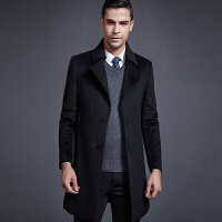 羊毛大衣男中长款西装领中年毛呢大衣商务修身呢子外套风衣加厚冬 黑色
