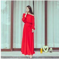 雪纺波西米亚沙滩裙海边度假时尚长裙休闲女 红色连衣裙七分袖大摆长裙支持礼品卡支付