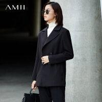 Amii[极简主义]翻领双排扣西装女2017秋装新纯色长袖宽松中长外套