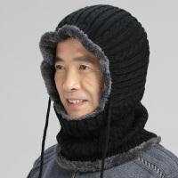 冬天黑色针织保暖帽男女通用加绒套头帽老年人毛线帽户外防寒线帽