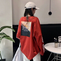 春季女装韩版原宿风字母印花中长款宽松显瘦长袖T恤学生打底上衣