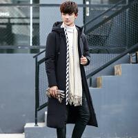 冬季长款羽绒服男加厚加长过膝男款学生羽绒衣男士冬天韩版潮外套 黑色