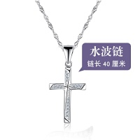 女士项链学生个性生日礼物锁骨链银日韩耶稣吊坠十字架银项链女