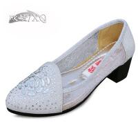 欣清老北京布鞋女款 夏女凉鞋坡跟布鞋时尚蕾丝网中跟单鞋休闲透气水钻浅口女鞋