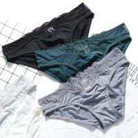 3条装 内裤女蕾丝低腰冰丝面料性感透气少女士三角裤棉裆黑白底裤