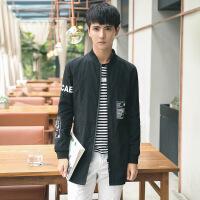 韩版男士中长款风衣外套潮男立领夹克风衣