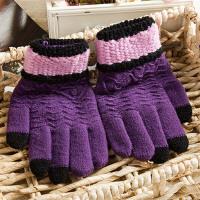手套女冬韩版加绒加厚保暖学生时尚可爱毛线针织触屏手套