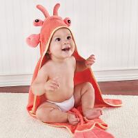 美国BabyAspen 纯棉婴儿小龙虾造型连帽浴巾 新生儿毛巾料洗澡巾