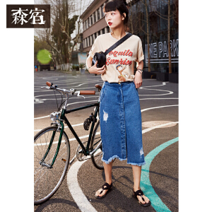 【尾品直降】森宿夏装2018新款文艺趣味印花短袖T恤女