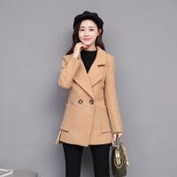 矮小个子短款毛呢大衣韩版妮子秋冬新款中长款修身外套女装 X90斤以下的