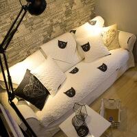 北欧干净黑白喵星人沙发垫全棉布艺坐垫防滑定制