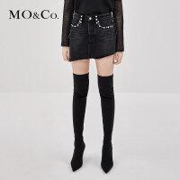 MOCO秋季新品摇滚黑牛个性钉珠牛仔裤裙 MA183SOT403摩安珂