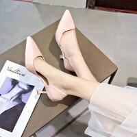 户外性感高跟单鞋女时尚百搭细跟尖头浅口女鞋子