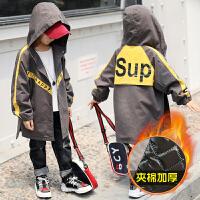 男童外套儿童夹棉冬装男孩中长款风衣中大童秋冬季