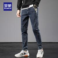 罗蒙男士牛仔裤2021春季新款修身弹力小脚裤青年韩版潮流休闲长裤