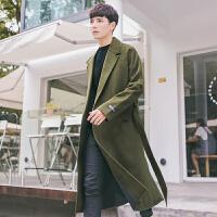 秋冬装男士过膝呢大衣青年中长款毛呢外套潮韩版羊毛呢子大衣外套 军绿色 M