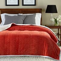 家纺2017秋冬款棉被子毛毯双层加厚保暖珊瑚绒毯子单人双人法兰绒学生宿舍盖毯床上用品 200x230cm 7斤【双人加