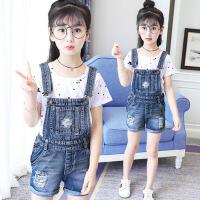 韩版中大童套装学生短袖 女童背带裤夏2017新款儿童牛仔短裤两件套