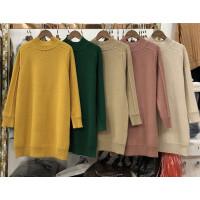 X5秋冬纯色毛衣女套头加厚韩版中长款宽松半高领针织衫打底裙0.45