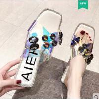 韩版网红水钻透明交叉一字型平跟平底拖鞋沙滩鞋凉鞋女托拖鞋女鞋