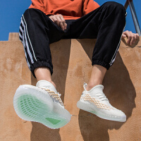 时尚新款夏季潮流男鞋百搭运动休闲板鞋透气网红果冻潮鞋男士网鞋