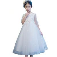 六一走秀钢琴演出服花童婚纱夏 女童礼服新款儿童公主裙网纱蓬蓬裙 白色
