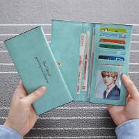 2017年韩版新款长款女士钱包女卡包薄款时尚磨砂女式学生钱包潮