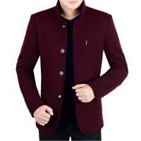 夹克男装秋冬新款中年男士立领休闲加厚羊毛呢子外套