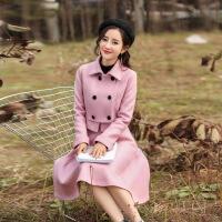 秋冬新款韩版粉色毛呢套装裙修身呢子套装女时尚两件套