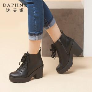 达芙妮秋冬季女鞋休闲女靴圆头粗跟靴子防水台系带女短靴马丁靴女