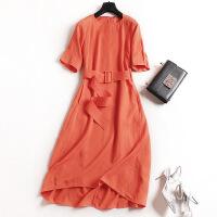 欧洲站女装2017夏新款高档腰带修身连衣裙优雅长裙6620 橘色