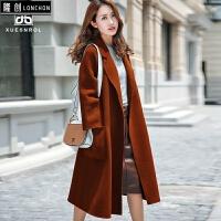 秋冬新款手工加长款双面呢大衣女过膝韩版双面绒羊毛呢子外套