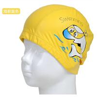 泳帽女童男童小孩泳帽女儿童泳帽防水儿童防晒布泳帽海豚布料