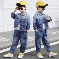 男童秋装牛仔套装儿童帅气运动春秋季洋气两件套