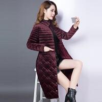 棉衣女中长款2017冬装新款韩版金丝绒中年绒面羽绒棉袄外套潮