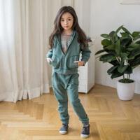 女童运动套装春秋中大童休闲纯棉卫衣韩版童装儿童两件套