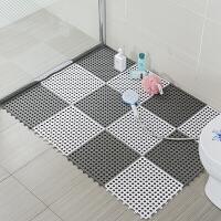 拼接地垫自由可裁剪地毯卫浴门垫卫生间浴室隔水垫淋浴房脚垫镂空疏水门垫片装 12片装 灰白加大版