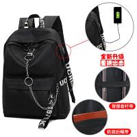 双肩包男女韩版原宿校园高中学生背包初中书包外置USB充电