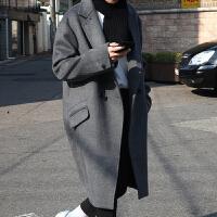2017秋冬新款韩版羊绒大衣男双排扣中长款宽松加厚羊毛尼大衣男
