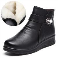 短靴真皮妈妈鞋冬季棉鞋中老年皮鞋女雪地靴平底防滑加绒保暖鞋子