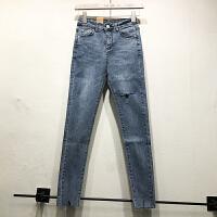 韩国ulzzang2018春新款高腰修身磨毛边破洞休闲裤蓝色牛仔长裤女